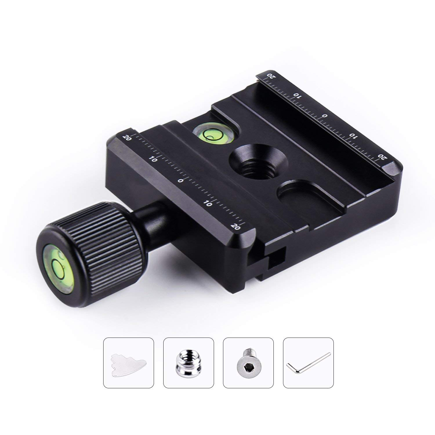 Focpro Aluminium 50mm Universal Quick Release Plate QR Clamp 3/8-inch w 1/4-inch Adapter & Level with Arca-Swiss Compatible Benro RRS Gitzo Wimberley for Tripod Monopod Head