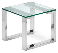 Square polished durable stainless steel living room end side table with glass