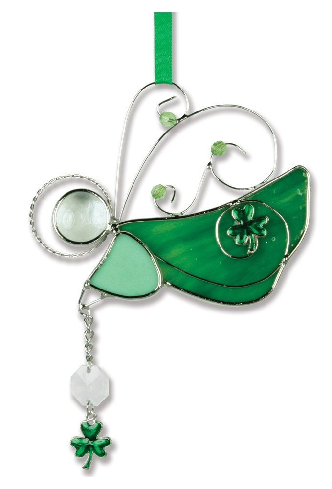 BANBERRY DESIGNS Irish Angel Suncatcher Stained Glass Ornament with Shamrock