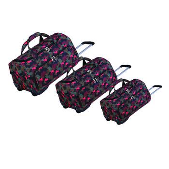 Rolling waterproof 420D 1680D nylon polyester plain travel duffel bag set fa8c37952dfde