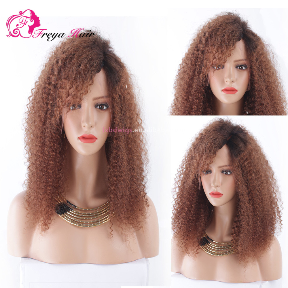 2017 New Product Omber Color Kinky Curly Brazilian Hair Front Lace Wig In Miami