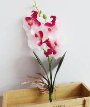 28 см 4 головки бабочка Орхидея, искусственные цветы в горшке растения искусственные цветы из шелка филиал фаленопсис домашний стол офисный ...(Китай)