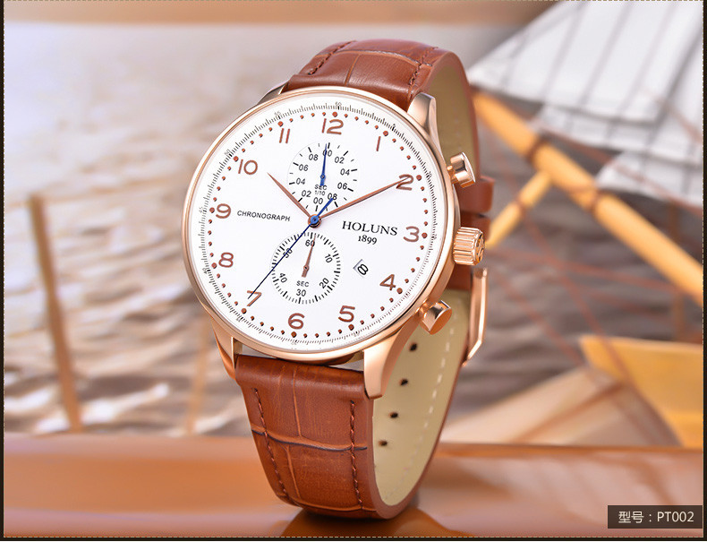 HOLUNS Original Mens Watches Luxury Brand Chronograph Men's Business Casual Leather Dress Calender Hour Clock Relogio Masculino 2017 2018 Best Gifts for Dad HIM (14)