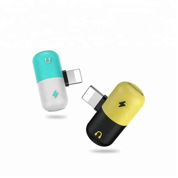 Newest capsule mini adapter dual 8 pin charging audio adapter for iPhone