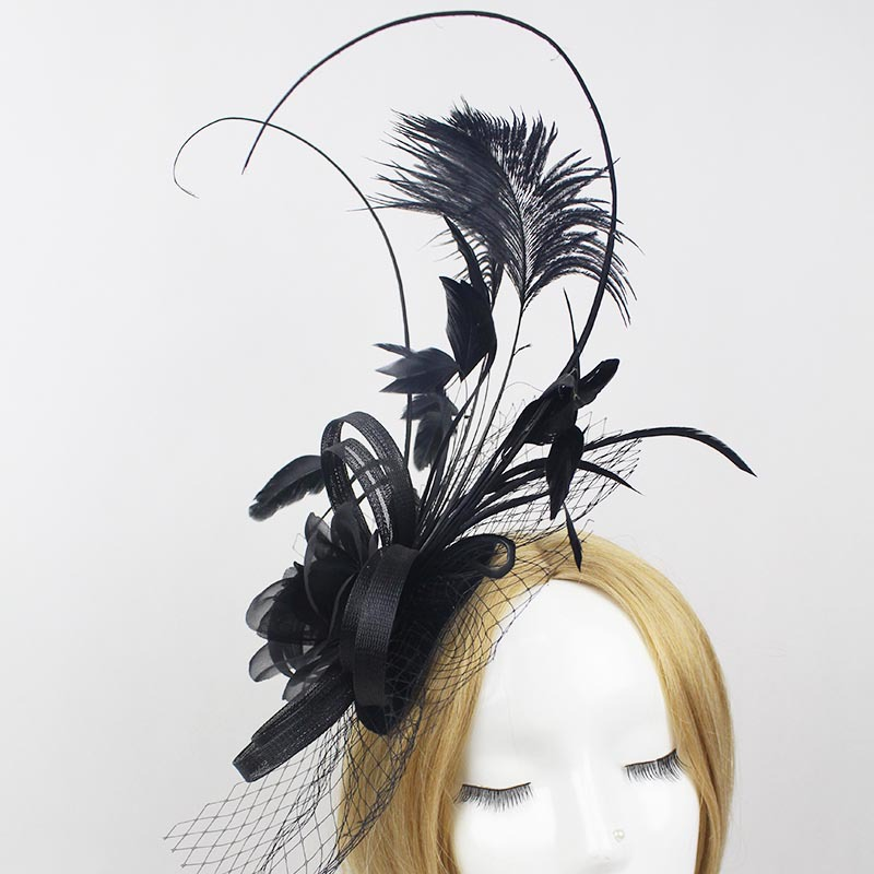1249a383b652c Ladies fascinators Black flower feather sinamay hats women hair accessories  elegant fascinators for wedding party and