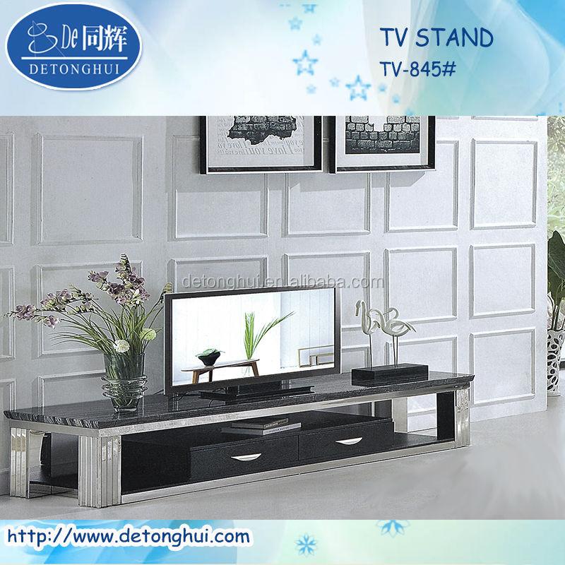 High Black Living Room Marble Tv Corner Unit Cabinet 845