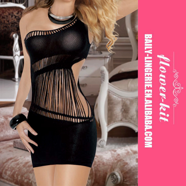 Women Sexy Black One Shoulder Mini Dress One side Cut Out Fill With String