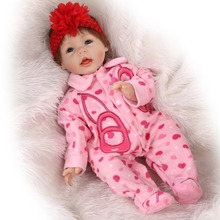 Lifelike Baby Dolls For Children 22 inch 55cm Smiling Realistic Soft Vinyl Silicone Reborn Dolls