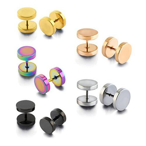 Mix Color Fashion Round Fake Ear Plug Surgical Steel Body Piercing Jewelry, Steel black gold rose gold rainbow