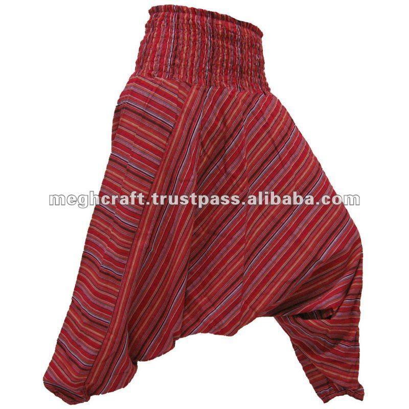 995beb9d Pantalones de algodón de la India Harem Pantalón a rayas pantalones baggy  harén-genios de