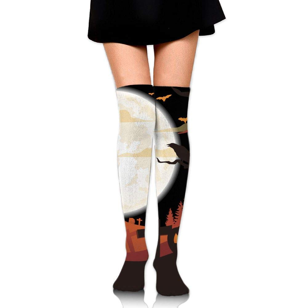 40e75b96cde Get Quotations · Women s Halloween Parade Haunted Party Comfortable Socks  Over Knee Knit Stockings