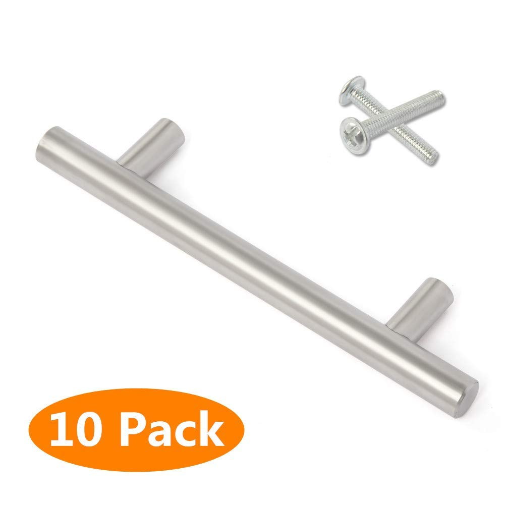 DoubleWin Cabinet Handles Brushed Nickel Cabinet Drawer Pulls Kitchen Door Handle T-Bar Pulls Cabinet Hardware Silver 10pack (6'' Length 3-1/8'' Center)