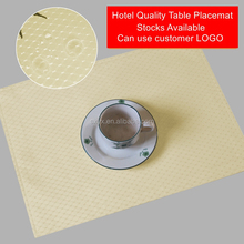 Set of 4 Hotel Quality Waffle Fabric Table Placemat Reversible Stain Resistant Dining Table Mat 13x19inch Beige