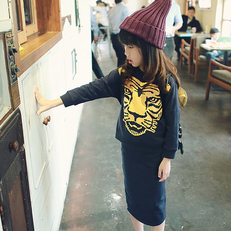 YF7090children cothing o-neck tiger printed hoodies and skirts fashion girl clothing