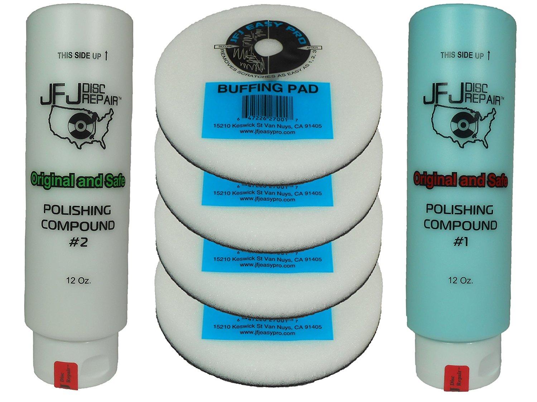 Original JFJ Combo Pack: 4 Easy Pro Buffing Pads, 1 JFJ Polish Compound #1 (Blue), and 1 JFJ Polish Compound #2 (White)