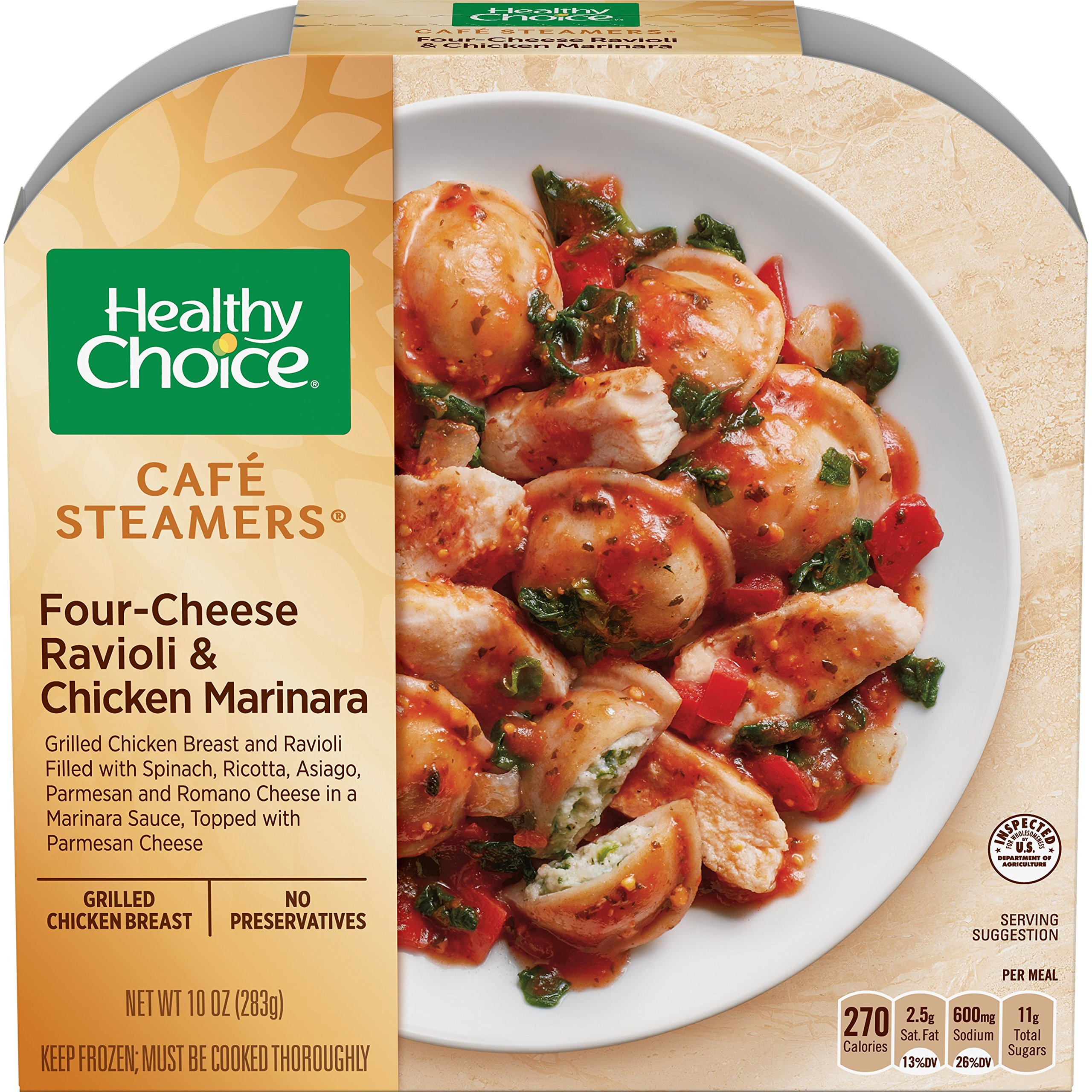 Healthy Choice, Cafe Steamers Top Chef Four-Cheese Ravioli & Chicken Marinara, 10 oz (Frozen)