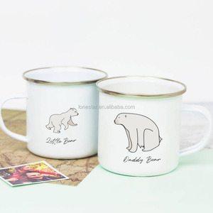 promotional product custom 350ml enamel cup Heat transfer empty enamel tea enamel mug