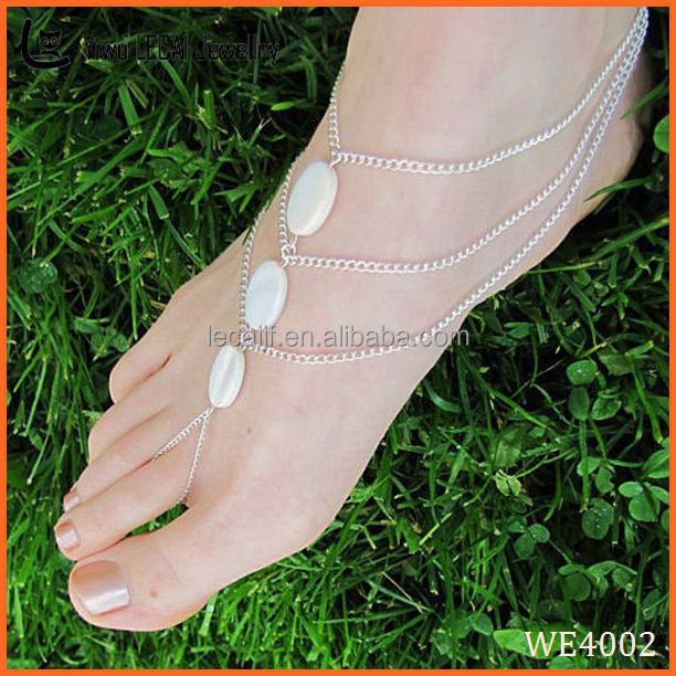 Anklets Strong-Willed Ankle Bracelet Crystal Anklet India Traditional Silver Tone Sea Barefoot Jewelry