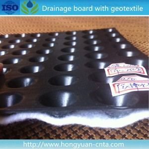 HDPE dimpled drainage sheet with geotextile