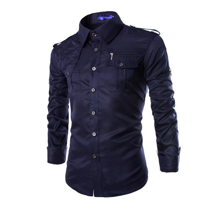 3e27943e Get Quotations · 2015 New Men's Slim Fit Long-Sleeve Double Pocket Design  Shirt Casual Shirts Male Cotton