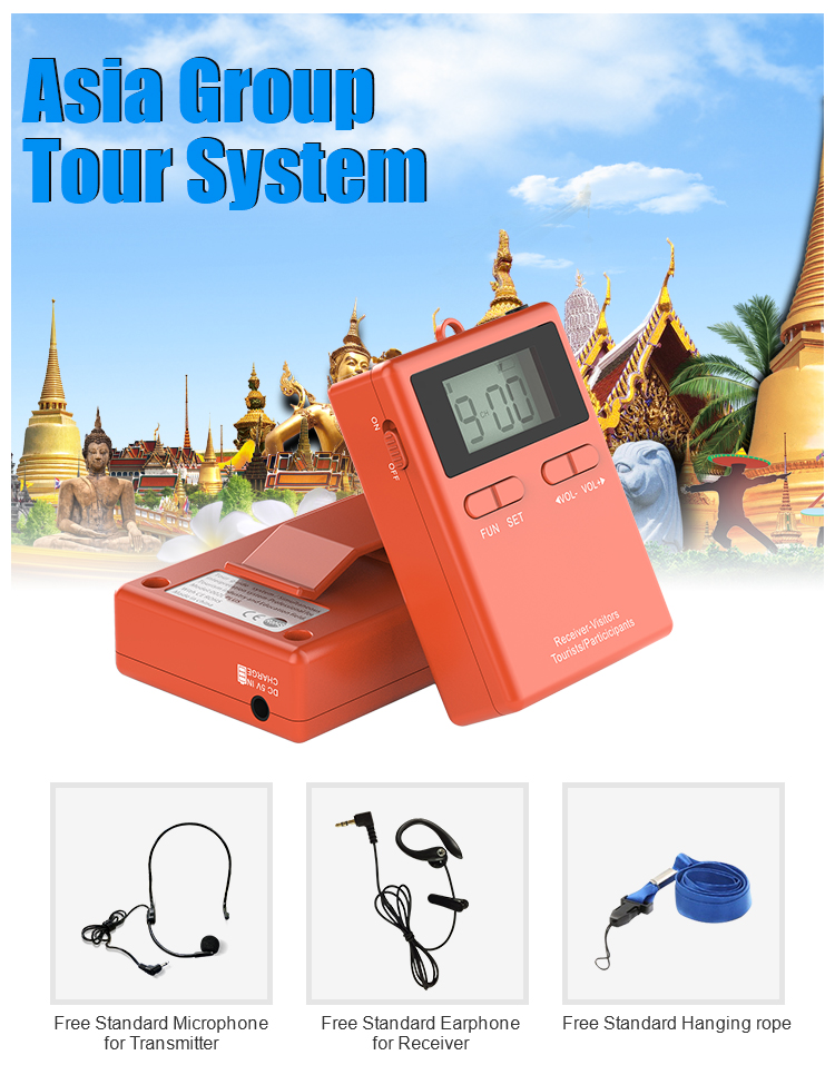 Audio Wireless Tour Headset Microphone For Whisper Group Tour Guide Travel
