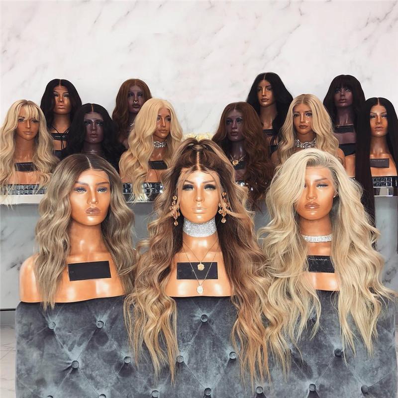 Perruque de cheveux indiens blonds humains en gros d'usine pleine dentelle avec délié naturel