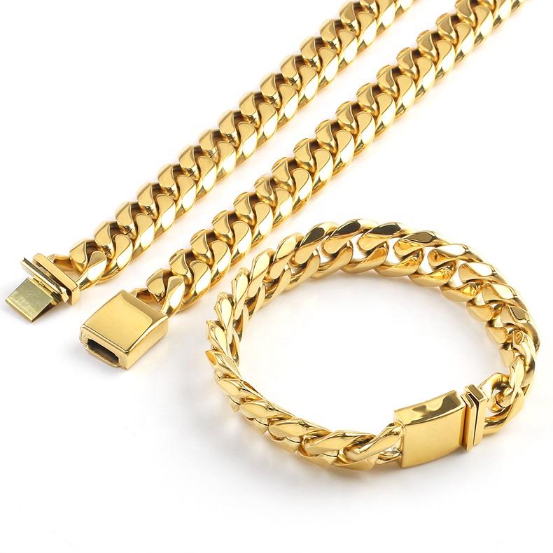 526619b0521d OUMI 18 K cadena de oro 316L 304 de acero inoxidable chapado en oro de