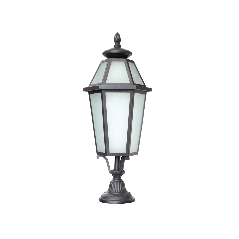IP55 Traditional Classic Black Painted Aluminum Driveway Pedestal Pillar Lamp Light RHT-13327