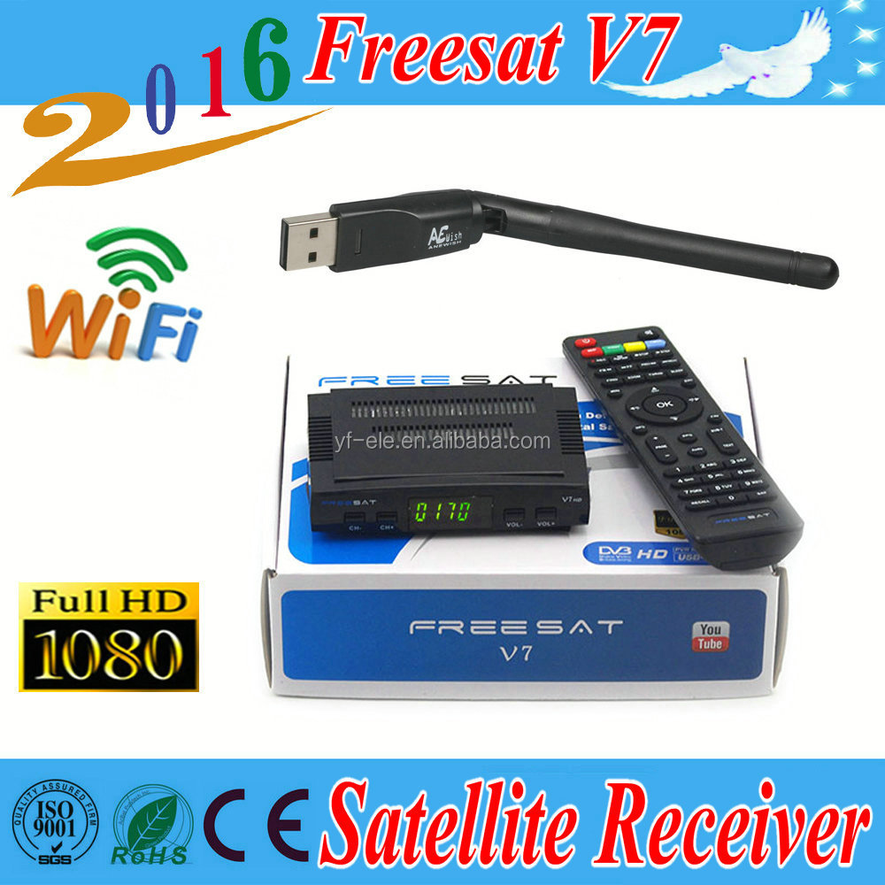 free shipping <strong>FTA</strong> <strong>Satellite</strong> TV <strong>Receiver</strong> Freesat V7 combo DVB-S2 + T2 <strong>HD</strong> PowerVu Biss Key Newcam Cccam Youtube,1pcs USB WIFI gift