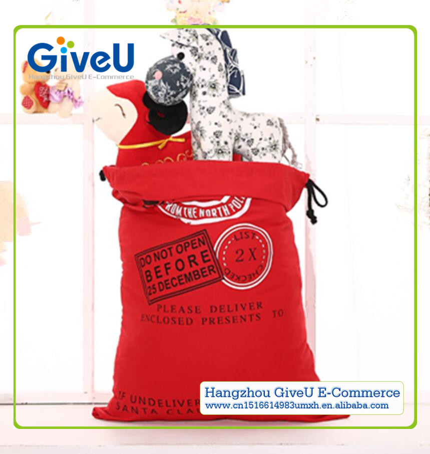 GiveU Wholesale High Quality 100% Cotton Drawstring Bags Christmas Cheap Large Blank Santa Sack