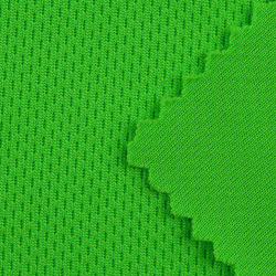 Green color dry fitr bird eye mesh fabric