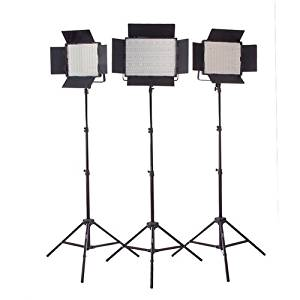 StudioPRO (Set of 3) 1200 Dimmable 5600K Daylight LED Light Bulbs S-1200DN LED Photography Lighting Panel Includes Barndoor & Light Stand Kit for Photo, Video & Film Production - Continuous Lighting Studio Kit