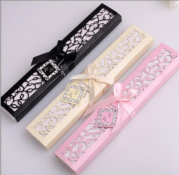 Elegant Wedding Gift: Pink Color Silk Fan In Elegant Gift Box Wedding Favors