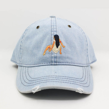3a0f830b0b8 custom distressed denim jeans dad hats cap stone washed worn out baseball  cap