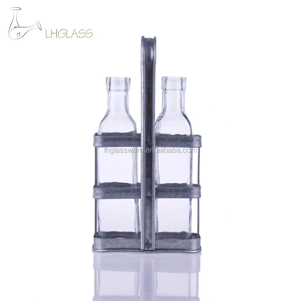 Oil Vinegar cruet 2 set Dispenser Dressing clear Glass Bottle Tools New kitchen