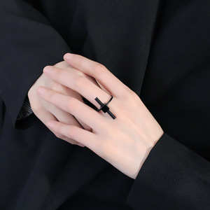 Fashion Korean style simple and natural beautiful word crossbar ring