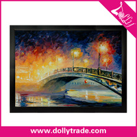 Beautiful Bridge Night Picture Oil Painting Frames 24x36