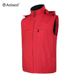 OEM service waterproof sleeveless hooded sports winter fleece vest