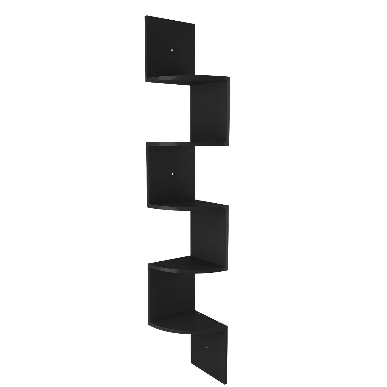 Black Wall Corner Shelf Unit