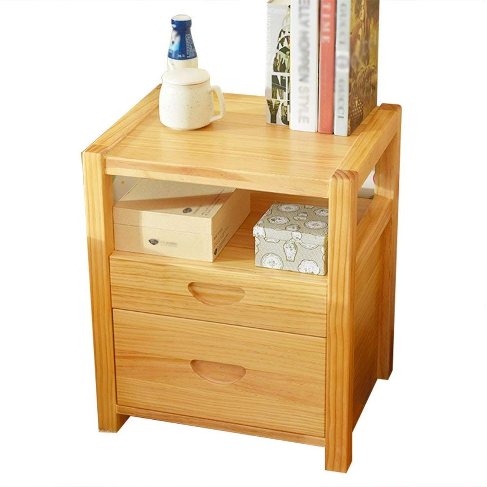 Emma Home Nightstand Pine Bedside Table Solid Wood Bedroom Bedside Cabinet Storage Cabinet Multi - Purpose Lockers (Color : A)