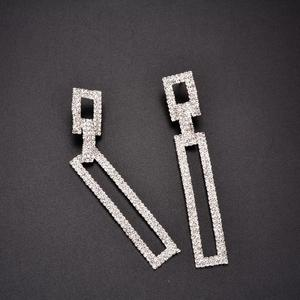 Diamante Sparkling Crystal Rhinestone Curved Chandelier Geometric Rectangle Pierced Stud Earrings