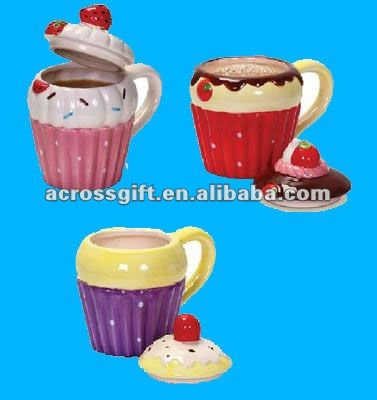 Hand painted cupcake ceramic tea coffee cups