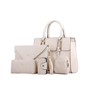 b706b90e8f4e Low MOQ fashion luxury custom handbag sets PU leather tote bag 5pcs in one ladies  bags