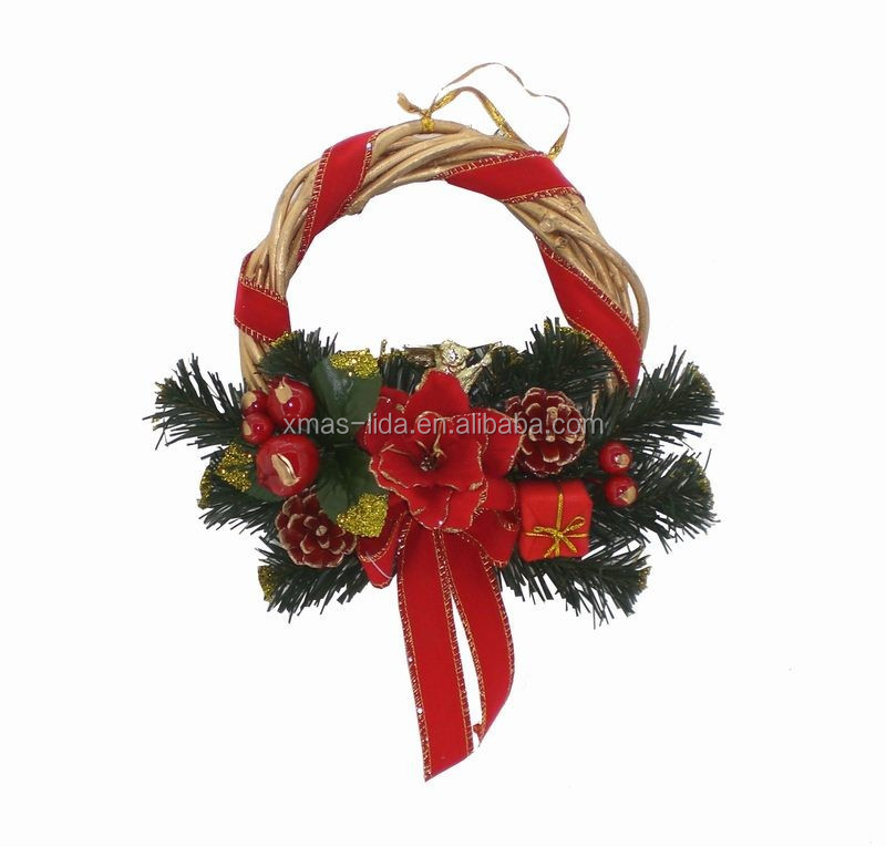 Red Pinecone/ Fruit/flower Decoratived Natural Rattan Christmas ...