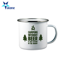 Customed logo printed 12oz enamel coffee travel mug stainless steel enamel camping mug