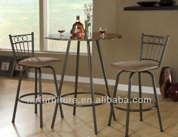 Metal Frame Bar Table And Chairs With Marble Veneer Table Top