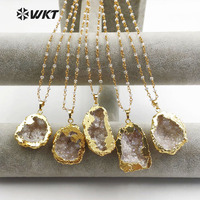WT-N1133 Wholesale Custom Natural Crystal embellishment Necklace With Gold Trim Random Shape necklace