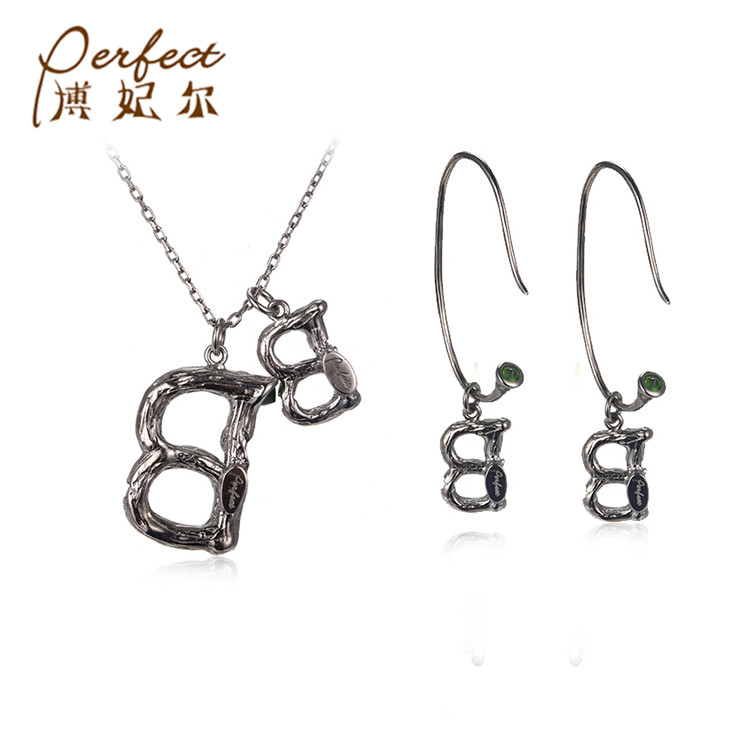 Unisex Letter C Pendant Silver Necklace And Earrings Diopside 925 Silver Jewelry Set