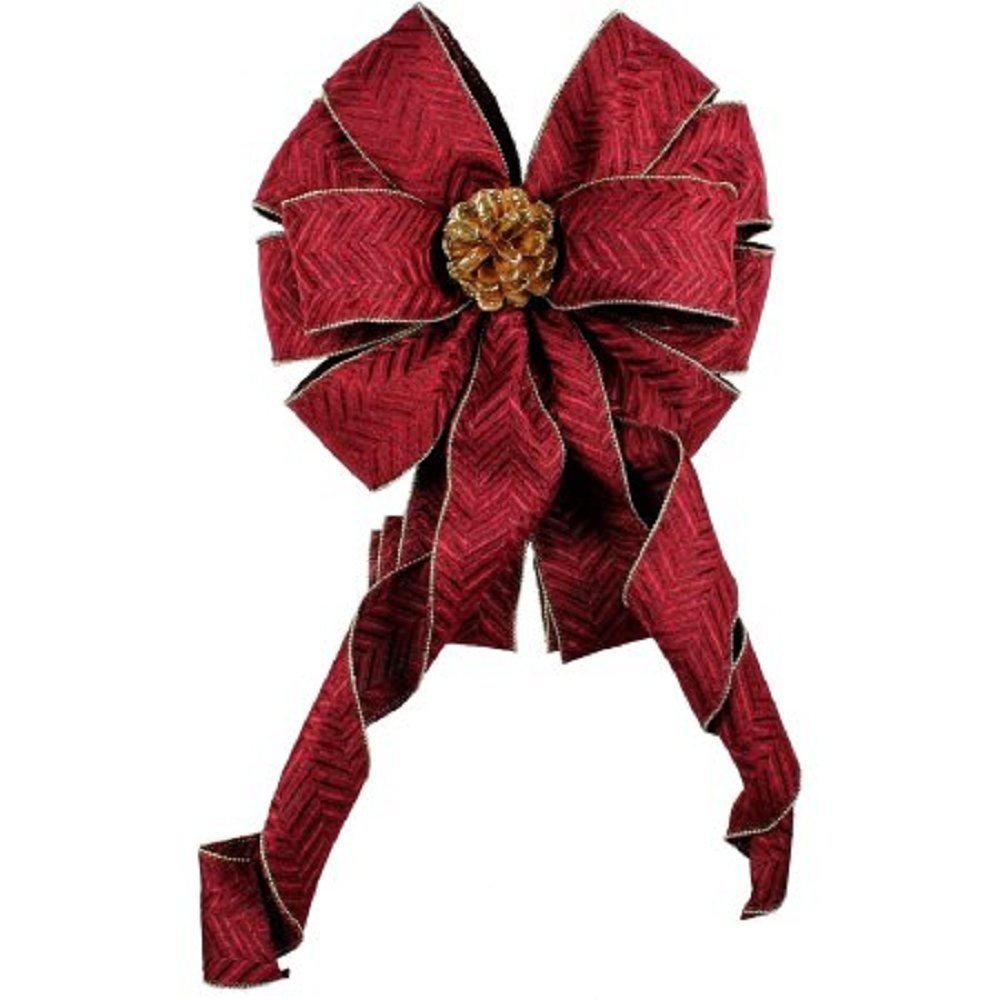 """Holiday Time Christmas Decor Burgundy 12"""" Tree Topper Bow"""