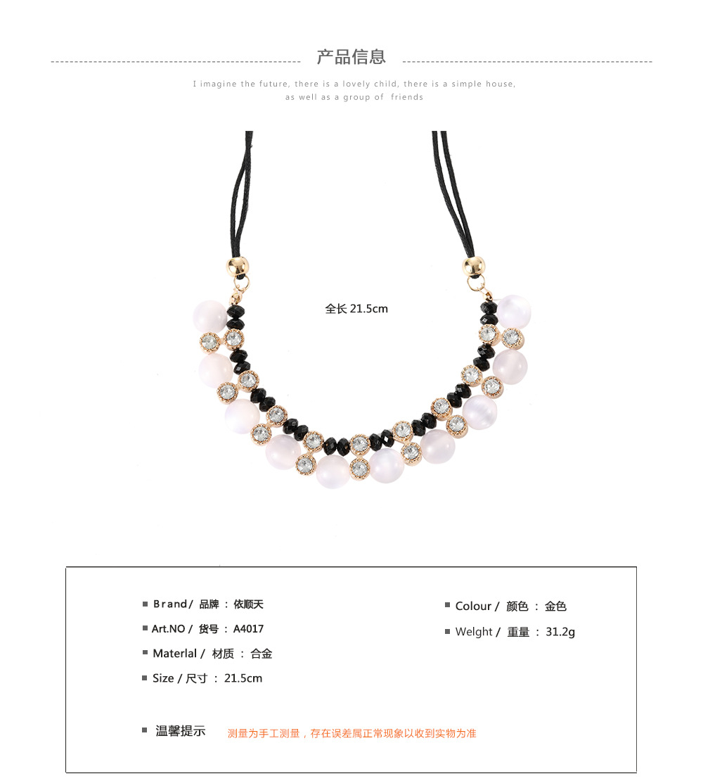 Wholesale women fashion  jewelry matel chian simple beautiful bead necklace with crystal pendant jewelry